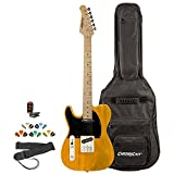 Sawtooth ET Series Left-Handed Electric Guitar Kit with ChromaCast Gig Bag & Accessories, Butterscotch w/Black Pickguard