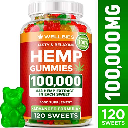 Wellbies Hemp Gummies 100,000mg - Potent Hemp Gummy Bears for Stress & Anxiety Relief - USA Made - Hemp Extract Natural Gummies - Efficient with Inflammation, Stress & Sleep Issues - Omega 3 Gummies (Store Colorado My)