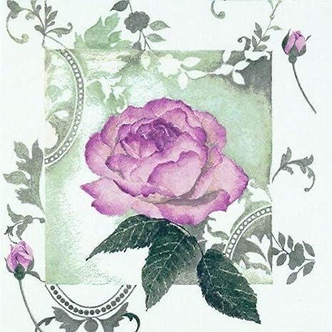 20 Servietten Traumhafte Vintage Rose Als Blume Für Hochzeit