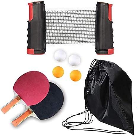 YLVM de tenis de mesa, incluye 2 ping-Pong, palas de ping-Pong pelotas 4, portaequipajes retráctiles Net portátil, Ping Pong Set portátil retráctil tenis de mesa Net tenis de mesa raqueta, a: Amazon.es: