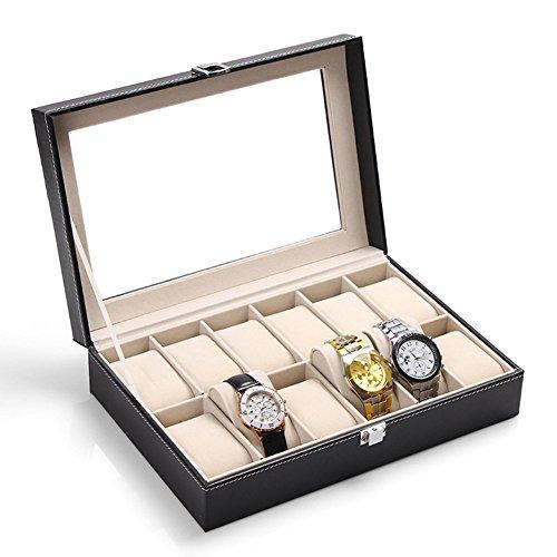 MyToy Leather 2/6/12 Mens Watch Box/Watch Case/Jewelry Box/Watch Jewelry Display Storage Black (12-Slot)