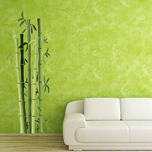 Style & Apply Bamboo Bushes Wall Decal Floral Wall Decal, Plant Sticker, Vinyl Wall Art, Green Bamboo Decor - DS 914-12in x 33in