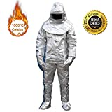 Fire Resistant Suit, vinmax Thermal Radiation 1000 Degree Heat Resistant Aluminized Suit Fireproof Clothes Include 1 Coat+1 Pant+1 Helmet+1 Pair Glove+1 Pair Shoe Cover (Shipping from US)