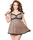 Coquette 3750X Women's Plus Size Leopard Print Babydoll And G-String Set - 3X-4X - Leopard Print