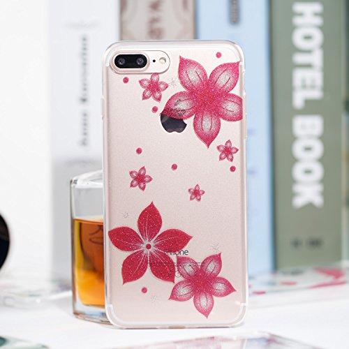 Silikon Hülle für iPhone 8 Plus / iPhone 7 Plus Handyhülle Case, Transparent Silikon Durchsichtig Kristall Klar TPU Schutzhülle Cover mit Glitzer Muster Glänzend Bling Sparkle Pattern Bunt Hülle Tasch Rose Rot Blume