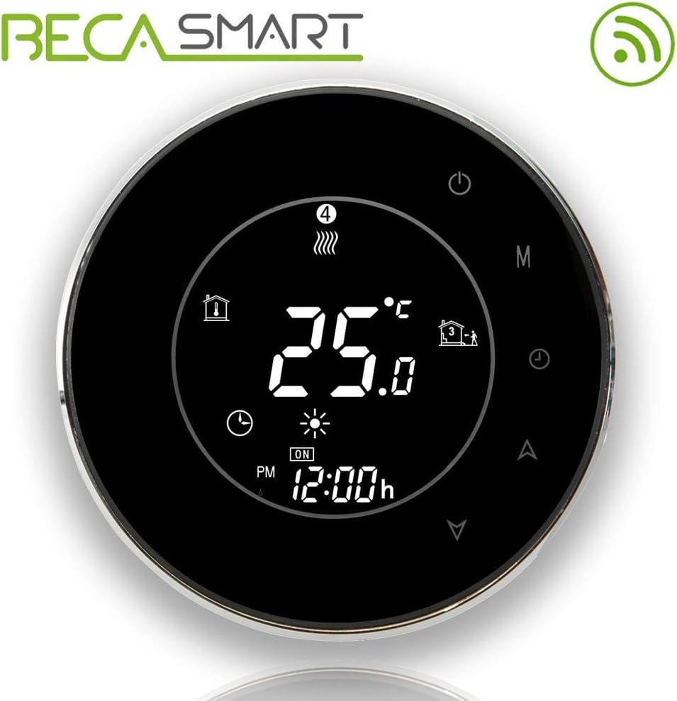 BECA 6000 Series 3 / 16A Pantalla táctil LCD Calentador de agua / electricidad / caldera Termóstato inteligente de control de programación con conexión WIFI (Calentamiento de caldera, Negro)