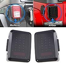 2x Smoked LED Tail Lights for 2007-2017 Jeep Wrangler Tail Lamp Brake Reverse Light Rear Back Up Turn Singal Lamp Daytime Running Lights DRL