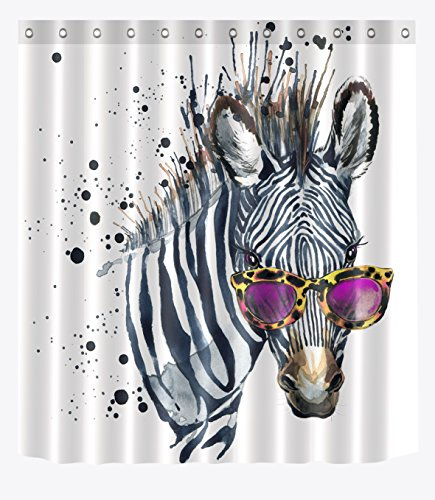 LB Cool Zebra in Glasses Shower Curtain for Bathroom, Chic Funky Funny Hipster Hippie Striped Animal Theme Print, Waterproof Fabric Decor Curtain, 59 W x 70 L