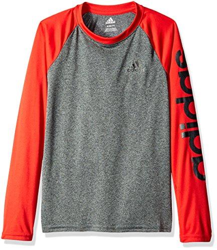 adidas Big Boys Climalite Long Sleeve Tee, Dark Grey Heather/Light Scarlet, X-Large/18