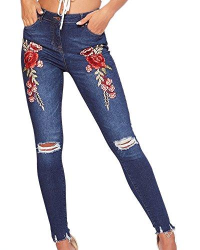 Femmes Dchirs Pantalon En Jeans Symtrique Rose Broderie Stretch Jeans Bleu Fonc