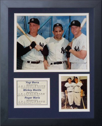 Legends Never Die New York Yankees Yogi Berra, Mickey Mantle and Roger Maris Framed Photo Collage, - New Plaque Yankees York