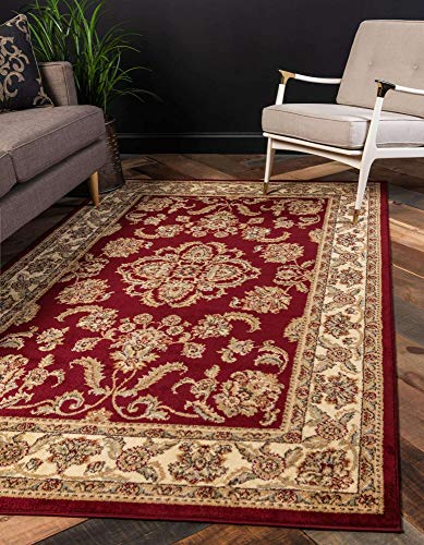 Unique Loom Voyage Traditional Oriental Classic Round Rug_AGR005, 9 x 12 Feet, Red/Tan