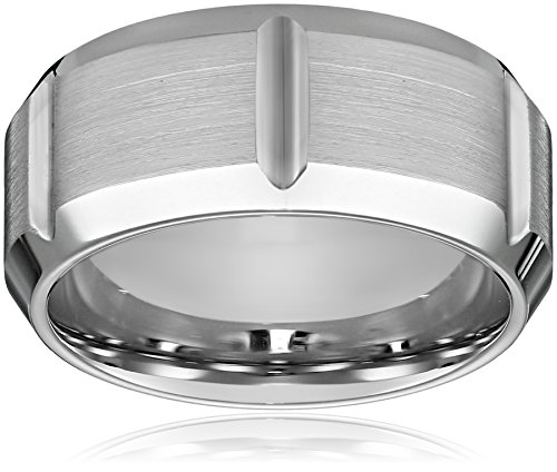 Men's Cobalt 10mm Satin Finish Comfort Fit Plain Wedding Band with Horizontal Cuts and Beveled Edges, Size 9 (Satin Band Plain)