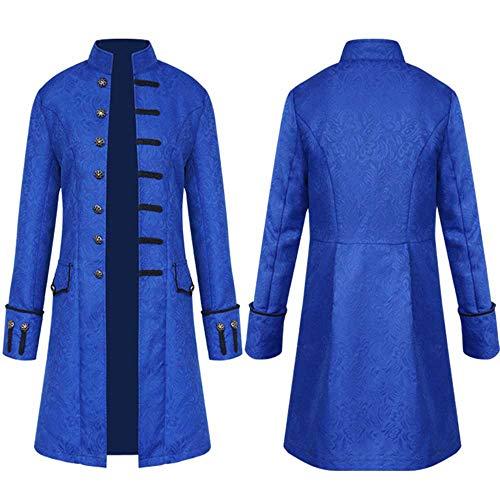 HKDGID Men's Unisex Vintage Tailcoat Jacket Goth Long Steampunk Formal Gothic European Medieval Aristocrat Victorian Frock Coat Uniform Casual Costume (Bule, Small) -