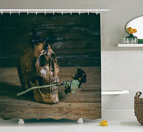 Gothic Decor Collection Still life Skull and Rose Periods with a Scorpion on the Head Skeleton Horror Themed Art Polyester Fabric Bathroom Shower Curtain Set with Hooks Wood