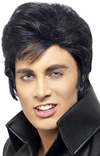 Mens Fancy Dress Party Costume Headwear Fake Hair Rock N Roll Elvis Wig Black