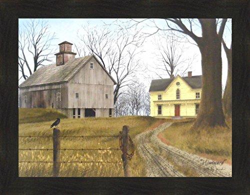 cobs 22x28 Farm House Weathered Barn Fence Black Bird Crow Primitive Folk Art Framed Print Picture ()