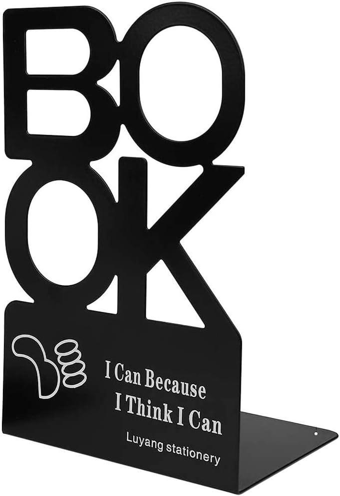 2 pezzi Reggilibri in Metallo a Forma di AlfabetoBOOK Moda Nonskid Bookends Fermalibri in Acciaio per Ufficio Biblioteca Fermalibri Nonskid in metallo Premium Scuola Studenti Regalo Nero Casa