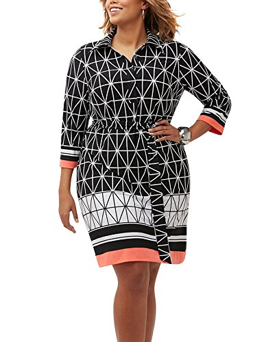 Sandra Darren Women Plus Size 3/4 Sleeve Printed Shirt Dress - Wear to Work (14W/16W, Black/Ivory/Coral)