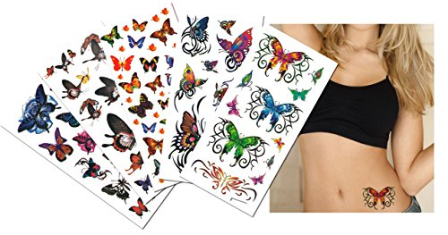 6-pack Value Plus Butterflies Temporary Tattoos - Butterfly Temporary Tattoos for Lower Back, Shoulder, Neck, Arm