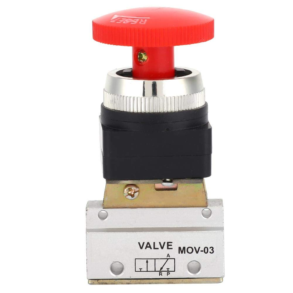 Liukouu 2 Position 3 Way G1//8 Pneumatic Mechanical Valve Push Button Switch MOV-03