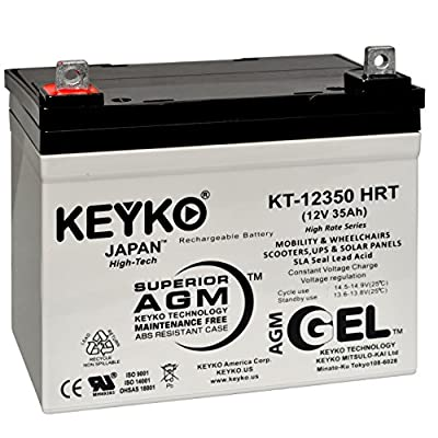 Topaz 8412601NN 12V 35Ah Battery - Fresh & REAL 35.0 Amp - Deep Cycle AGM/SLA Seal Lead Acid Designed for UPS - Genuine KEYKO KT-12350 - Nut & Bolt L2 Terminal - P
