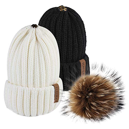 097dc710987 FURTALK Winter Knit Hat Real Raccoon Fur Pom Pom Womens Girls Warm Knit  Beanie Hat (