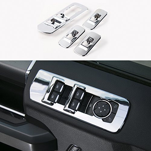 ABS Chrome Car Window Lift Cover Trim For Ford F150 2015+ (Chrome Car Window Lift Cover)