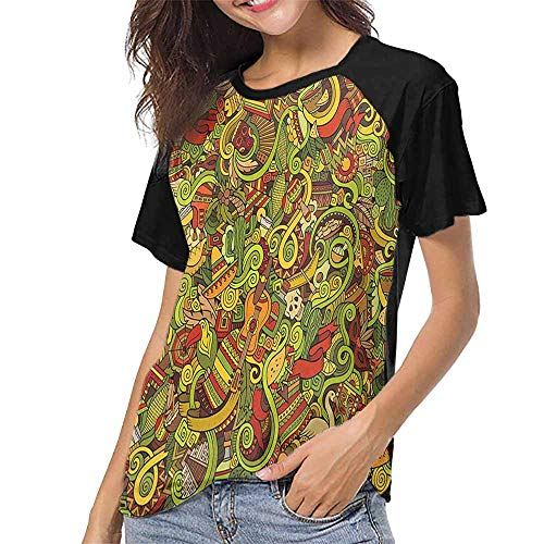 Fiesta,Printed Crew Neck Casual Tee Tops S-XXL(This is for Size Large) Cartoon Style Latin American Elements Guitar Hat Facemasks Swirls Ethnic Culture,Womens Raglan Baseball ()