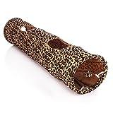Tera Túnel Tube Roll Rastreo Juguete plegable para mascota gato perro con dos agujeros 120x25cm