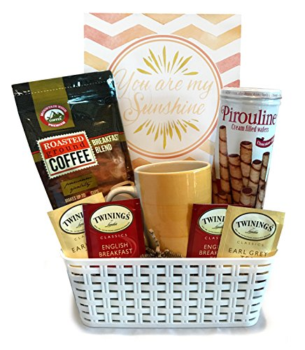 Coffee Tea Cocoa Mug Gift Set with Starbucks Via Coffee, Starbucks Hot Cocoa, Tazo Tea, Honey, Nonni's Biscotti + More -Lots of Cup Styles- (Deluxe - Sunshine Coffee Basket) (Coffee Baskets For Delivery)