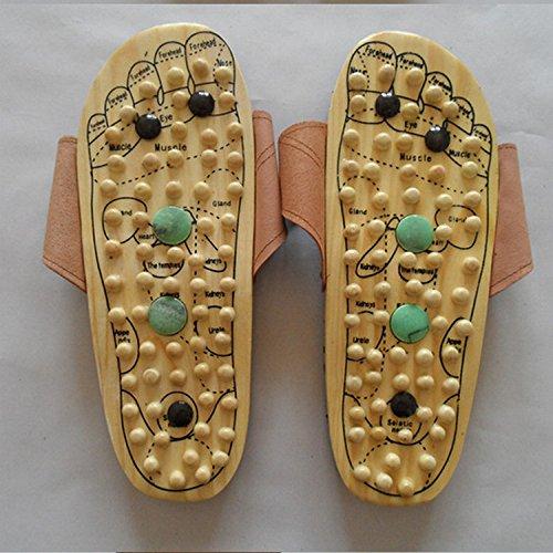 Massage Point En Santé Pantoufles HONG Magnétique Jade 44 Masseur Yellow Pied Pieds Thérapie Acupuncture JIA Plus Bois 44 Massage Des Yellow Af60cx