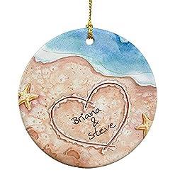 Beach Themed Christmas Ornaments GiftsForYouNow Beach Couples Christmas Ornament, 2.75″, Ceramic, Cute Beach Ornament, Couple Beach Ornament, Memorable Vacation Ornament beach themed christmas ornaments