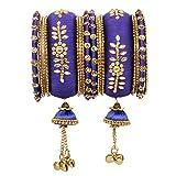 Vishal-Vatika Indian Fashionable Bollywood Designer Latto Thread Ghungroo Bangle Pairs (Blue, 2.10)