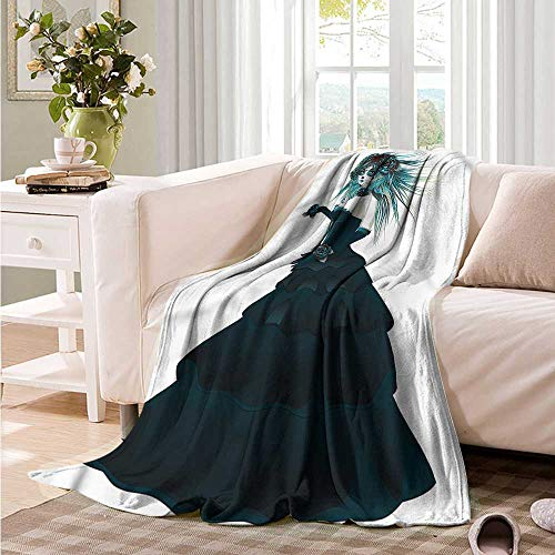 Oncegod Super Soft Blanket Girls Gothic Halloween Lady Zombie Recliner Throw,Couch Throw, Couch wrap 72