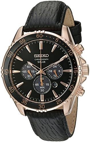 Seiko Men s Chronograph Quartz Gold and Black Leather Dress Watch Model SSC448