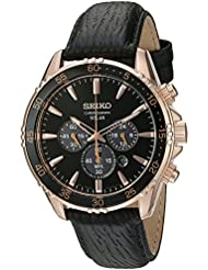 Seiko Mens Chronograph Quartz Gold and Black Leather Dress Watch (Model: SSC448)