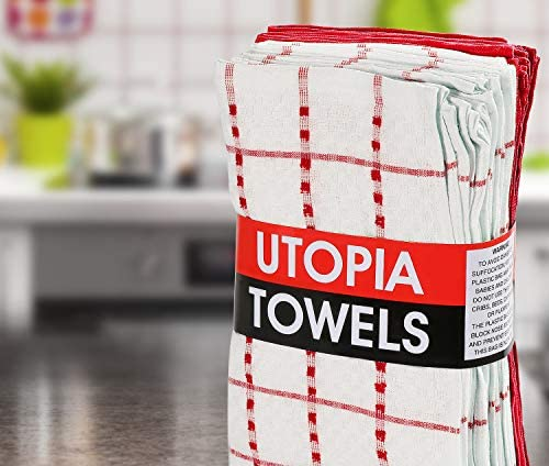 Utopia Towels Kitchen Towels, 15 x 25 Inches, 100% Ring Spun Cotton Super Soft and Absorbent Red Dish Towels, Tea Towels and Bar Towels, (Pack of 12)