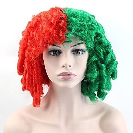 """14 """"afro peluca de pelo rizado sintético verde color rojo corto sintético peluca sacacorchos"""
