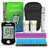 AUVON DS-W Blood Sugar Kit (No Coding Required), High-Tech Diabetes Blood Glucose Meter with 150 Test Strips, 25 30G Lancets, Lancing Device