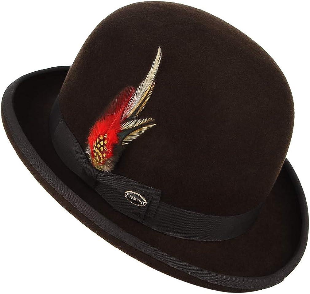 GEMVIE Mens Wool Derby Bowler Hat Satin Lined Round Top Gentleman Wool Hat with Feather