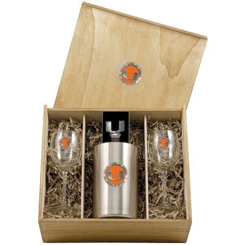 Miami Hurricanes Wine Box Set by Heritage Pewter