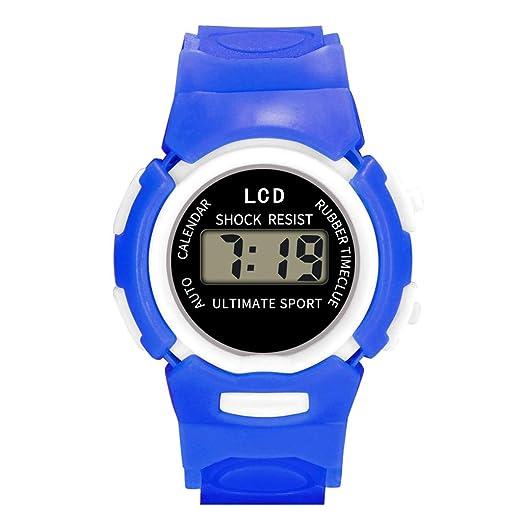 Loolik Relojes Infantiles,Moda Colorida Resina Impermeable Caso LED Digital Analógico Electrónica Deportes Reloj de los niños (Azul): Amazon.es: Relojes