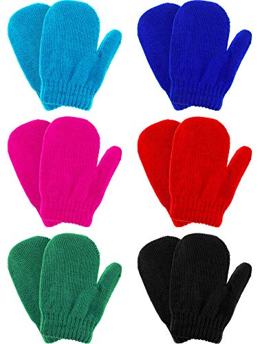 Boao 6 Pairs Stretch Mittens Winter Warm Knitted Gloves for Kids Toddler Supplies (Color Set 2)
