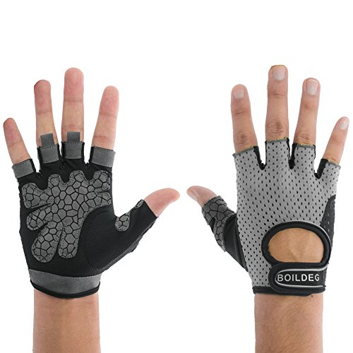 Women's Reflective Cycling Gloves Girls' Mesh Fabric Mountain Bike Gloves Bicycle Riding Gloves Motorcycle Driving Gloves Half Finger Short Bar Gloves with Non-slip Gel Pad (Gray, US-M)