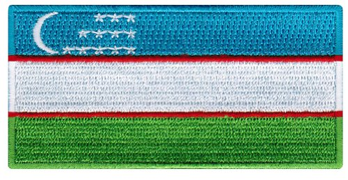 Uzbekistan Flag Embroidered Patch Uzbek Iron-On National Emblem