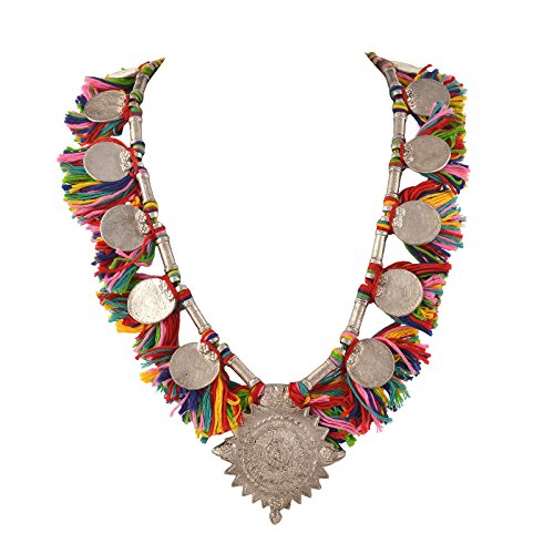 Zephyrr Handmade Tribal Necklace With Charms Multi Color Tassels Statement Fashion Jewelry for Women
