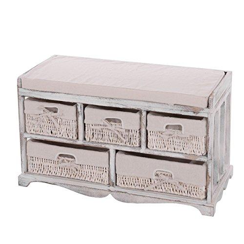 Kommode-und-Sitzbank-mit-5-Schubladen-77x45x36cm-Shabby-Look-Vintage-wei