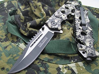 Tac-Force Assisted Opening Linerlock w/ Skull Design A/O Speed Rescue Glass Breaker Knife by TAC Force