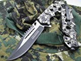 Tac-Force Assisted Opening Linerlock w/ Skull Design A/O Speed Rescue Glass Breaker Knife